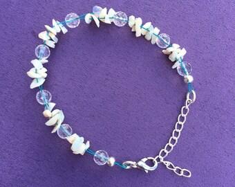 Opal and Quartz Cluster Bracelet, Australian Opal Bracelet, October Birthstone Bracelet, Gift for Her, Gemstone Cluster Bracelet, Opal Chips