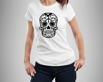 Sugar Skull T Shirt, Dia de los muertos, Womens Skull Shirt, Skull shirt, Sugar Skull Tshirt, Day of the Dead, Womens shirt, Graphic Tee