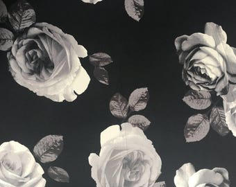 Monochrome Rose Double Brushed Poly Knit