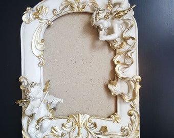 Vintage,whitish-gold  color photo frame, squared photo frame, Vintage frame, Retro Photo frame, Vintage frame,Cherubs  motives, Cherubs