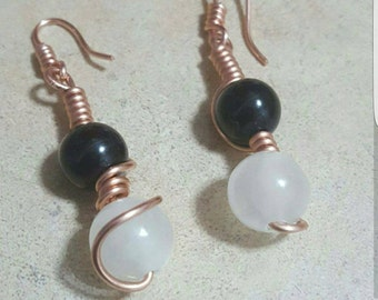 Onyx x Clear Quartz Earrings
