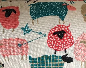 Star Struck Sheep.- Pink - Blue -Black-Hokkoh Tahti Japanese lightweight oxford cotton fabric.