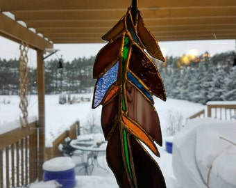 Feather stained glass sun catcher
