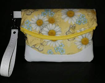 Foldover Clutch, Butterflies and Daisy Fabric Foldover Wristlet w/White Vinyl Accents and Strap, Swoon patterns, foldover wristlet