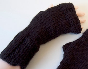 Cute fingerless mitten in black , hand knit with rib border