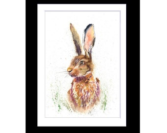 HARE STARE limited PRINT of original art watercolour painting by Helen Rose 160