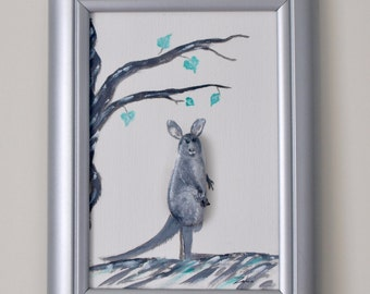 3D - stone image with oil paint, decoration, gift, birthday, handmade painted: Kangaroo with baby in the bag