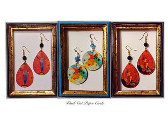 Kandinsky handmade earrings handmade decoupage art