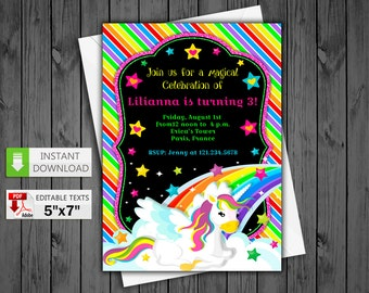 Printable invitation Rainbow Unicorn in PDF with Editable Texts, Rainbow Unicorn party Invite, edit and print yourself! Instant Download!