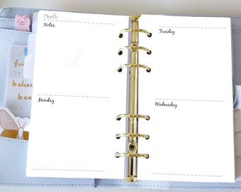 Personal Weekly Insert - Planner Printable Inserts - Week on 4 Pages WO4P - Filofax Personal or Kikki K Medium