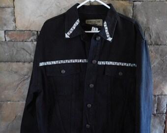 Vintage Black Denim Jacket with Coordinated Top, Embellished, Size Large, Loose Fit