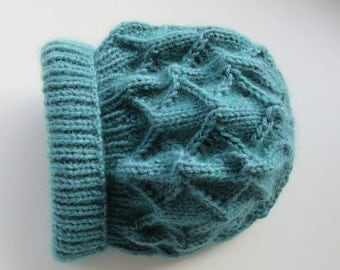 Supersoft fluffy hand knitted patterned hat