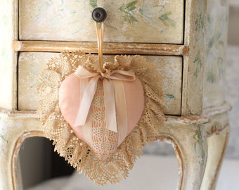 Antique pink heart silk satin hanging ornament shabby chic crochet lace ruffled edge pillow