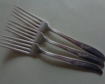 Wm Rogers Jennifer Ada 3 Silver Plate Dinner Forks Oneida IS Silverplate Flatware