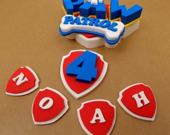 Personalised Paw Patrol badge sugar paste icing cake topper edible birthday, shipping from UK