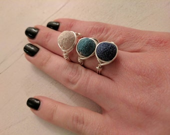 Colorful lava stone rings, wire wrapped rings, essential oil diffuser jewelry, aromatherapy, doterra, young living, custom sizes