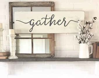 "Gather wood sign | rustic wall decor | wall decor | gather sign | wood signs | wooden signs | 36"" x 11.25"""