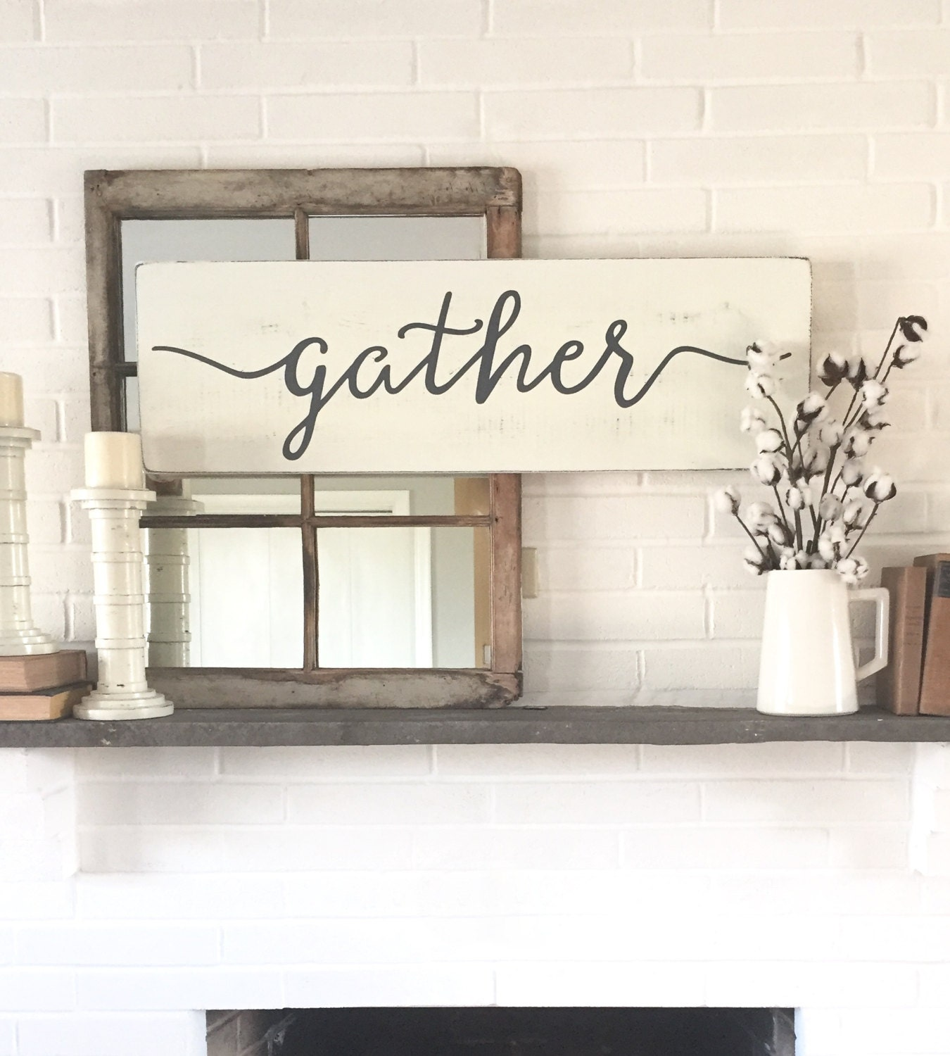 Gather wood sign rustic wall decor wall decor gather for Rustic wood wall art
