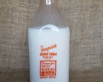 Glass Milk Bottle, Vintage Milk Bottle, #340