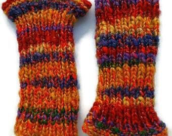 Wrist warmers, arm warmers, wool gloves, handmade gloves, rainbow wrist warmers, hand-knitted gloves, hand-dyed gloves, rainbow arm warmers