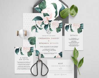 "Printable Wedding Invitation Suite ""The Dutchess Foil"" - Printable DIY Invite, Affordable Wedding Invitation"