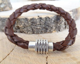 EXPRESS SHIPPING,Brown Braided Leather Bracelet,High Quality Leather Bracelet, Men's Jewelry,Magnetic Clasp Bracelet, Father's Day Gifts