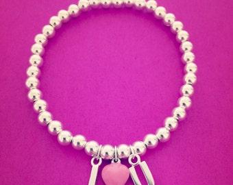 Sterling Silver 'I (Heart) U' Charm Bracelet