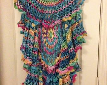 Crochet Mandala vest & hat. Boho Plus 1x-3x, Spring/Easter
