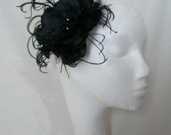Black Flower Clip - Rose and Ostrich Feather Gothic Style Fascinator Hairclip Headpiece - Wedding Goth Victorian Vintage - Made to Order