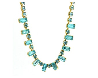 Vintage 1950's Necklace | Vintage Necklace | Turquoise Necklace | 1950s necklace | Blue necklace | Wedding Necklace | Rhinestone Necklace