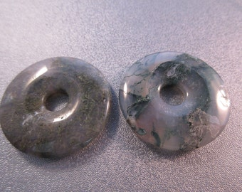 Moss Agate Donut Beads 2pcs