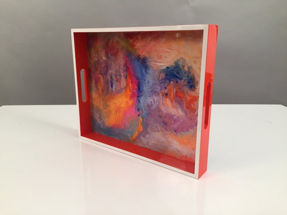 "Lacquer tray featured Artist Bruce Mishell titled ""The Other Side"""