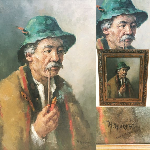 "Original signed painting ""The man with the hat and pipe"""
