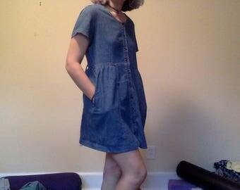 Vintage Denim Babydoll Dress, Denim Button Dress, Denim Teacher Dress