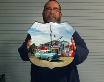 Your photo on a aluminum clock in the shape of the Historic Route 66 sign. Free S&H.