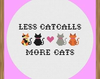 Less Catcalls More Cats (Feminist Cross Stitch Pattern)