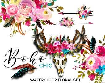 Boho Watercolor Clipart Pink Blue Flowers Deer Scull Horns Antlers Arrows Clipart Floral Bouquets Wreaths Sprays DIY Wedding Invitations