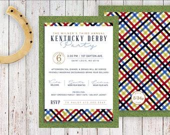 Kentucky Derby Invitation   Plaid