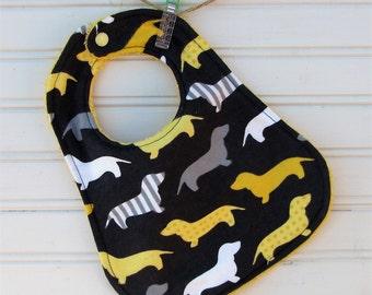 Bib - Dachshund Baby Bib - Dog Baby Bib - Gender Neutral Bib Flannel and Terry Bib - Shower Gift - Handmade Bib