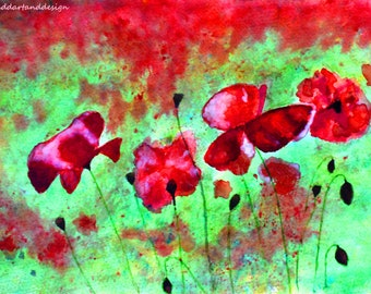 Poppies. Abstract art, Brusho watercolour crystals, limited edition print, vibrant colours, mothers day