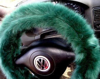 Green Fuzzy Steering Wheel Cover, Fuzzy Steering Wheel Cover, Car accesories, Fuzzy Car Accessories, Faux Fur Steering Wheel Cover