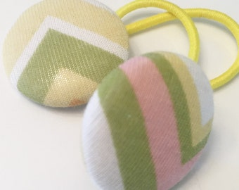 M2M Matilda Jane Button Hair Elastic Tie Band Set of 2 Fabric Buttons House of Clouds Brady