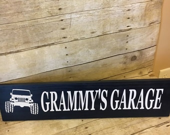 Grammy's Garage Wood Sign - Grammy Jeep Sign - Gift for Grandma - Gift for Grammy - Nana - Mimi - Mother's Day Gift - Grandma Christmas Gift
