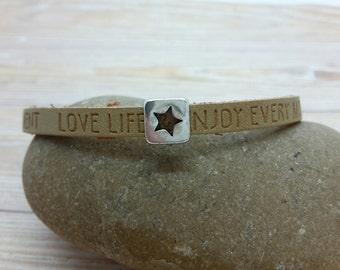 Vegan bracelet, slogan,star rule, different colors
