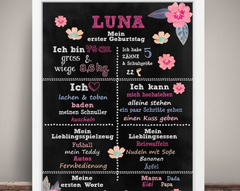 A4 art print 'My 1st first birthday' table flowers DIN A4 mural
