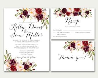 Wedding Invitation Suite, Marsala Wedding Invitation, Wedding Invitation, Burgundy Wedding Invitation, Bohemian Wedding Invites, Set