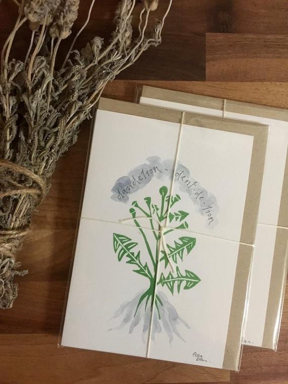 Handmade Dent-de-lion Linoprinted Eco Card ~ Pack of 3