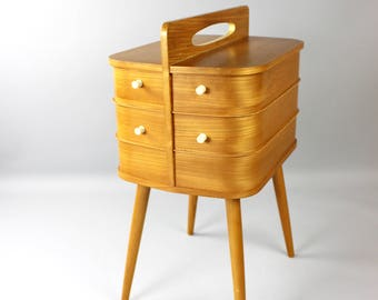 Vintage sewing box sewing box sewing table coffee table wood sewing box Danish design 60s