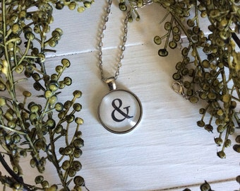 FREE Shipping - Handcrafted Vintage Ampersand Necklace - ampersand jewelry - handmade necklace - birthday gift