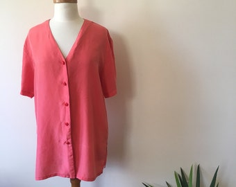 bright 100% silk coral button-up blouse
